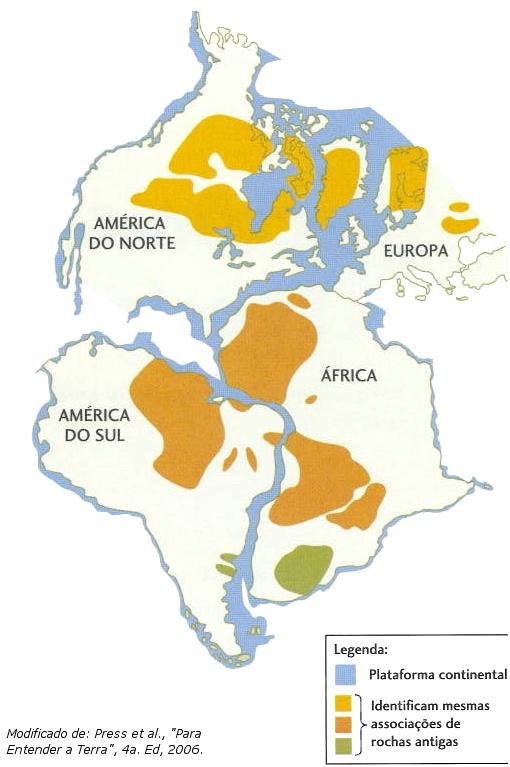 Formação do atlântico sul com a separação dos continentes americano e africano