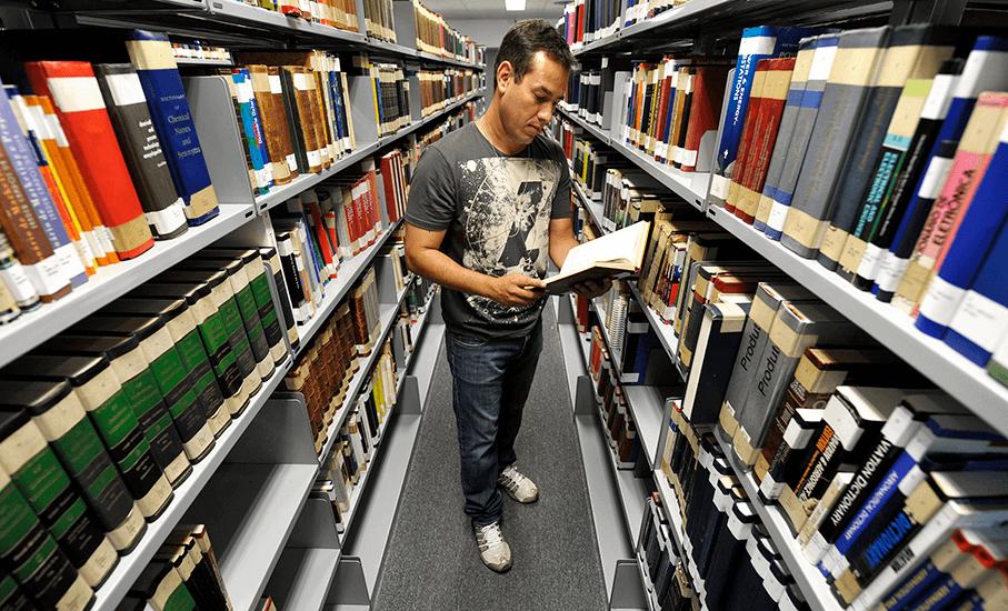 Biblioteca, livros, estante