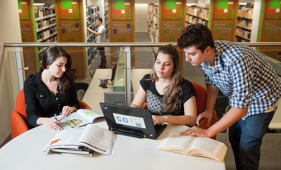 Biblioteca, biblioteca central irmão josé otão,sala de estudos, computadores, alunos, estudando