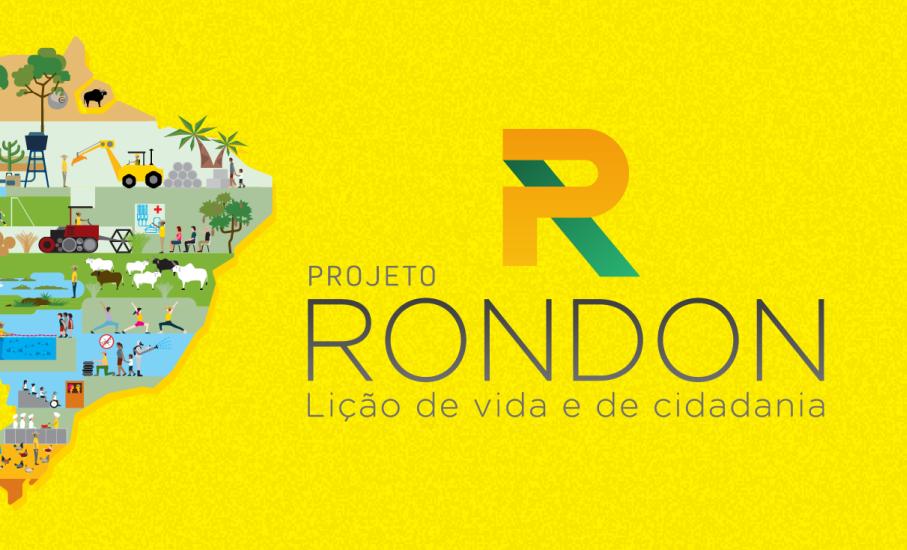Arte com fundo amarelo, mapa do Brasil e logotipo do Projeto Rondon