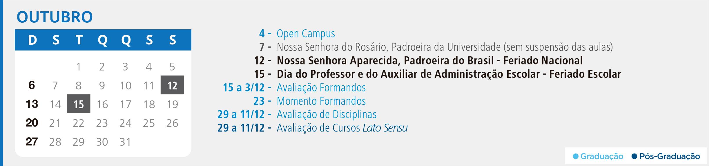 Calendário Acadêmico PUCRS - Mês de Outubro