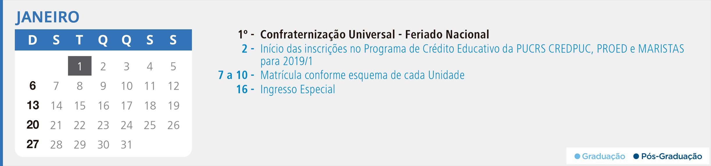 Calendário Acadêmico PUCRS - Mês de Janeiro