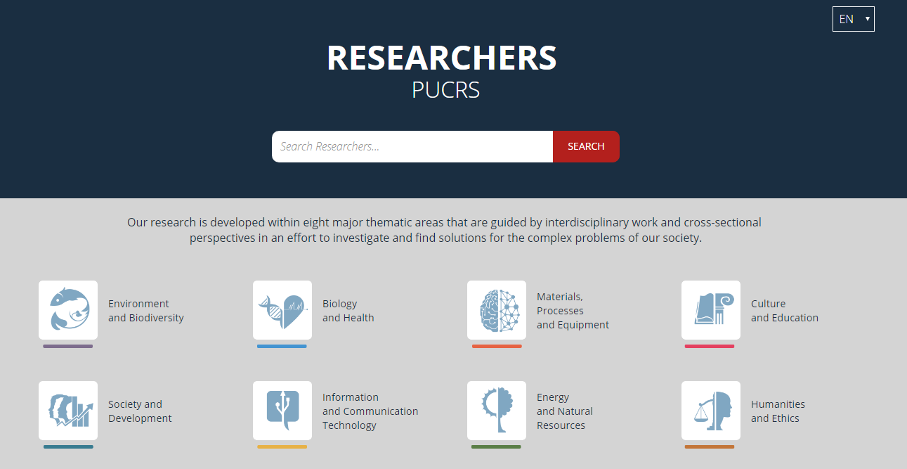 Printscreen of Researhers PUCRS showing eight major thematic areas